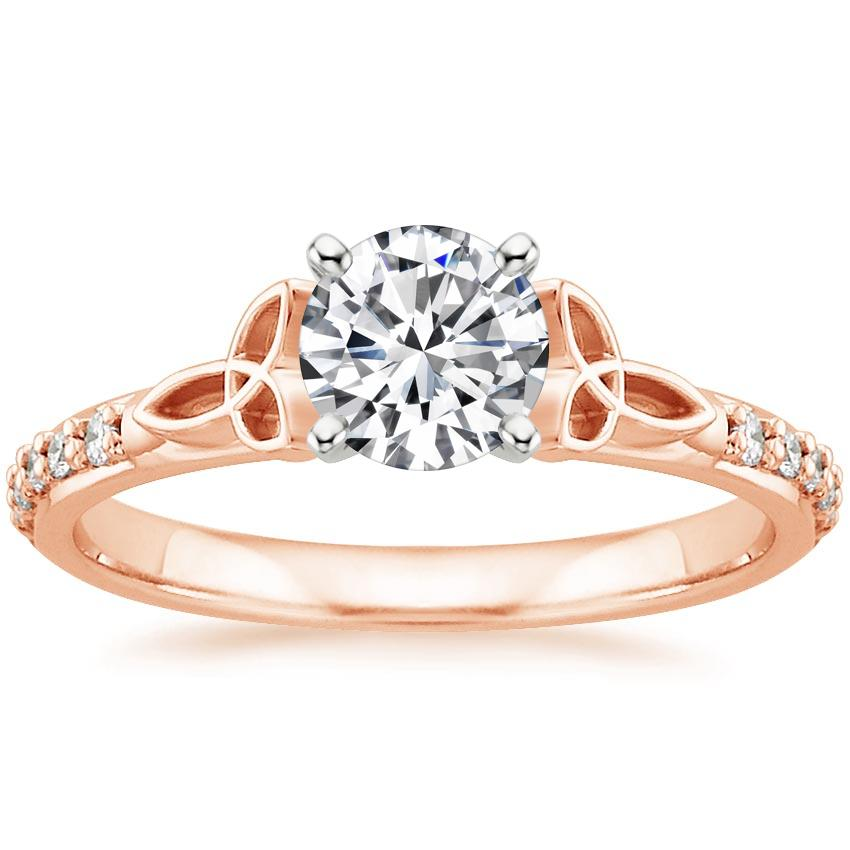 Round 14K Rose Gold Luxe Celtic Love Knot Diamond Ring