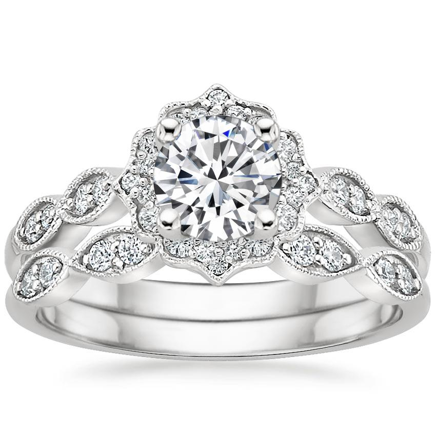 18K White Gold Cadenza Halo Diamond Bridal Set (1/4 ct. tw.)