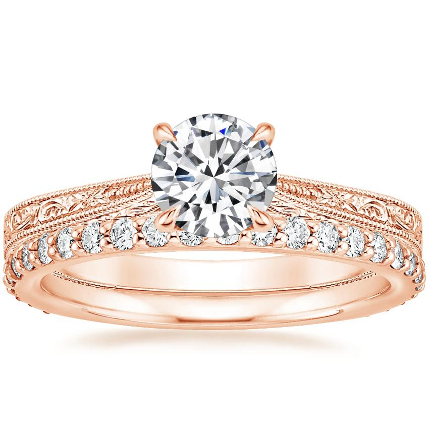 14K Rose Gold Elsie Ring with Petite Shared Prong Eternity Diamond Ring (1/2 ct. tw.)