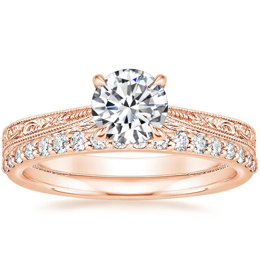 14K Rose Gold Elsie Ring with Petite Shared Prong Diamond Ring (1/4 ct. tw.)