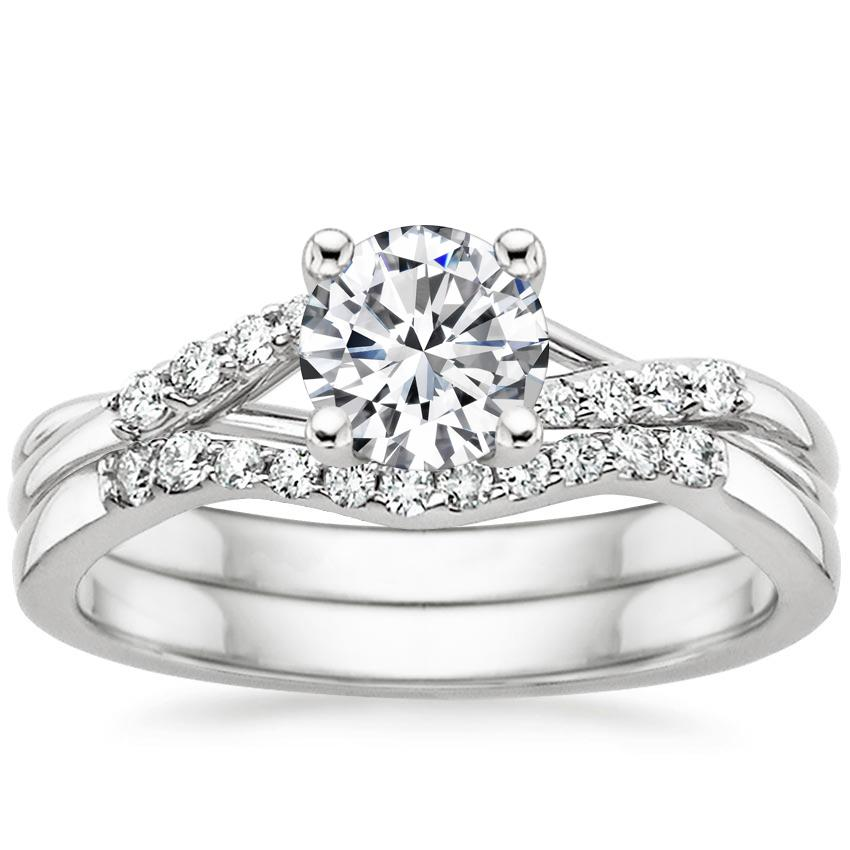 18K White Gold Chamise Diamond Bridal Set, top view