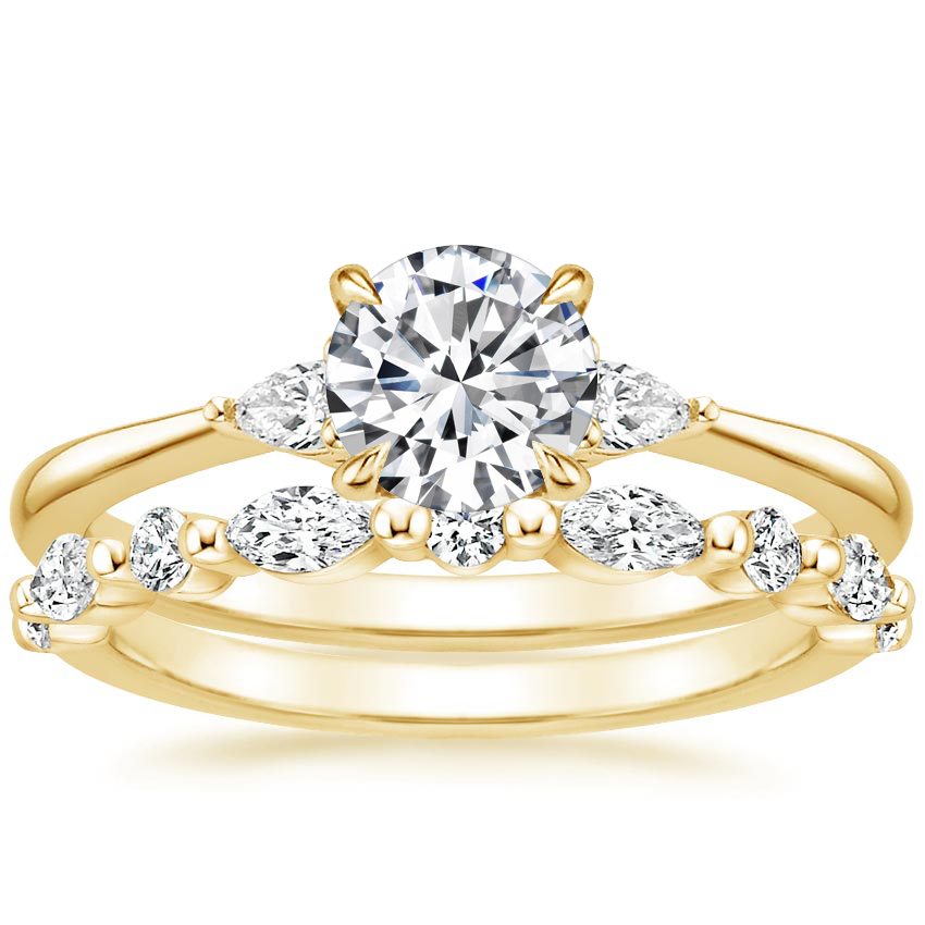 18K Yellow Gold Aria Diamond Ring (1/10 ct. tw.) with Versailles Diamond Ring (3/8 ct. tw.)