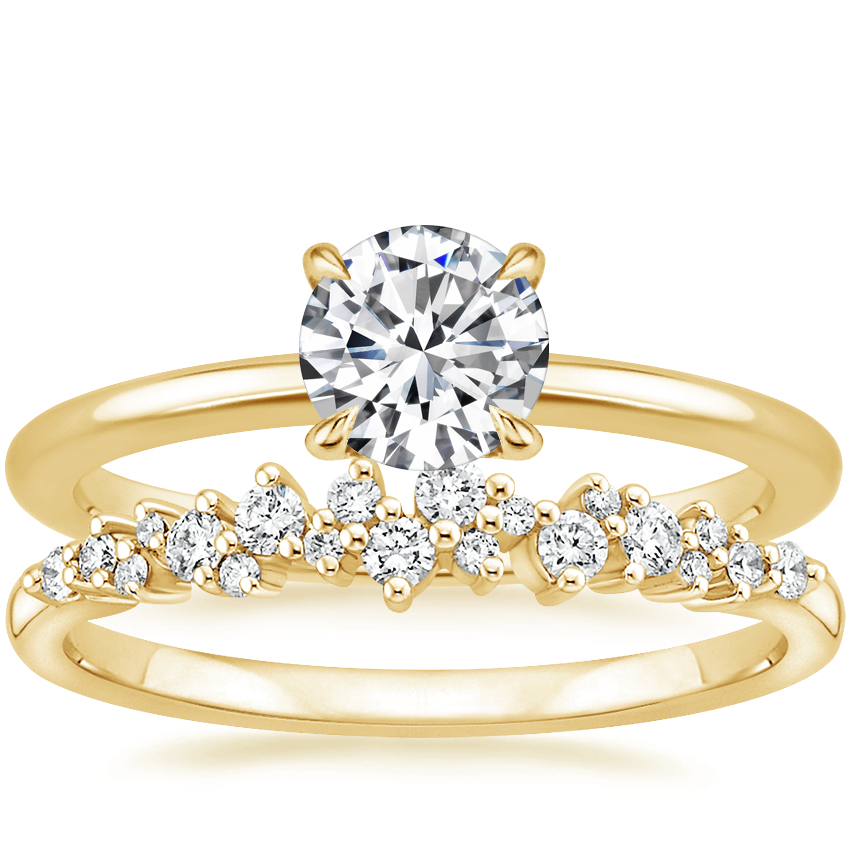 18K Yellow Gold Petite Elodie Ring with Aurora Diamond Ring