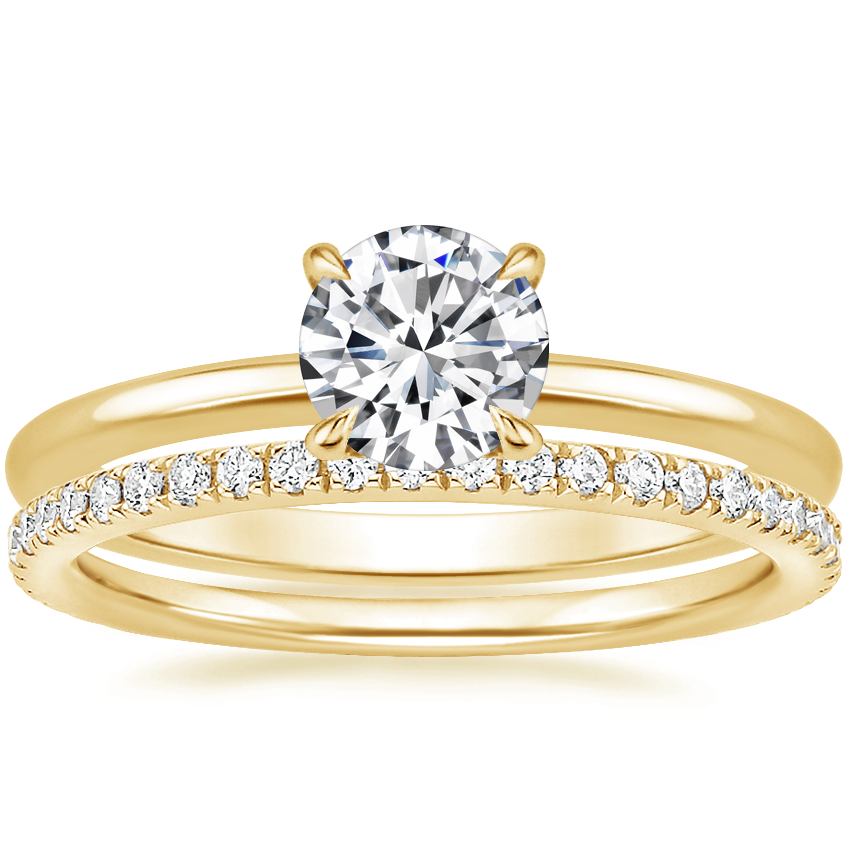 18K Yellow Gold Petite Elodie Ring with Luxe Ballad Diamond Ring (1/4 ct. tw.)