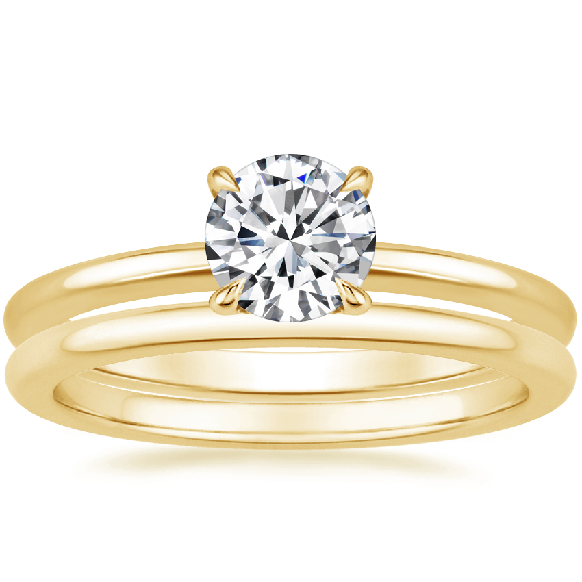 18K Yellow Gold Petite Elodie Ring with Petite Comfort Fit Wedding Ring