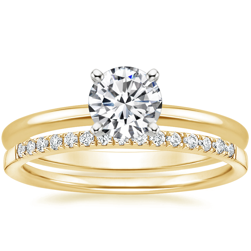 18K Yellow Gold Four-Prong Petite Comfort Fit Ring with Petite Ballad Diamond Ring (1/10 ct. tw.)
