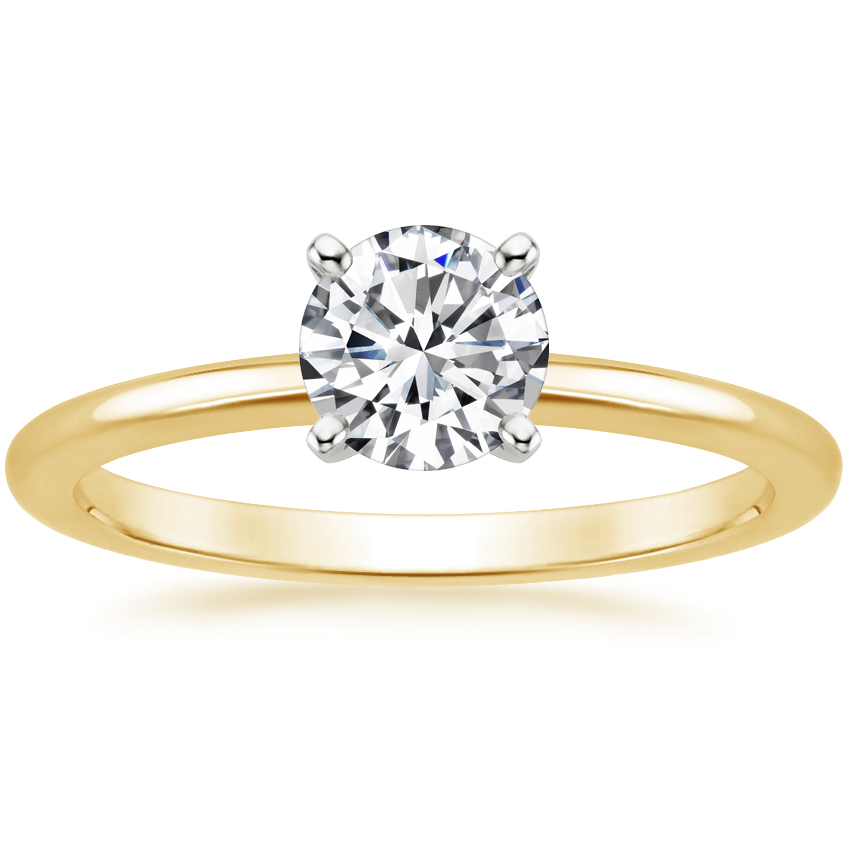 Round 18K Yellow Gold Four-Prong Petite Comfort Fit Ring