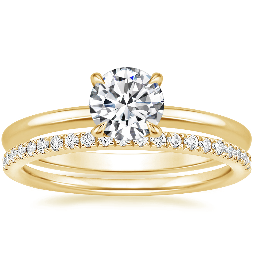 18K Yellow Gold Petite Elodie Ring with Ballad Diamond Ring (1/6 ct. tw.)