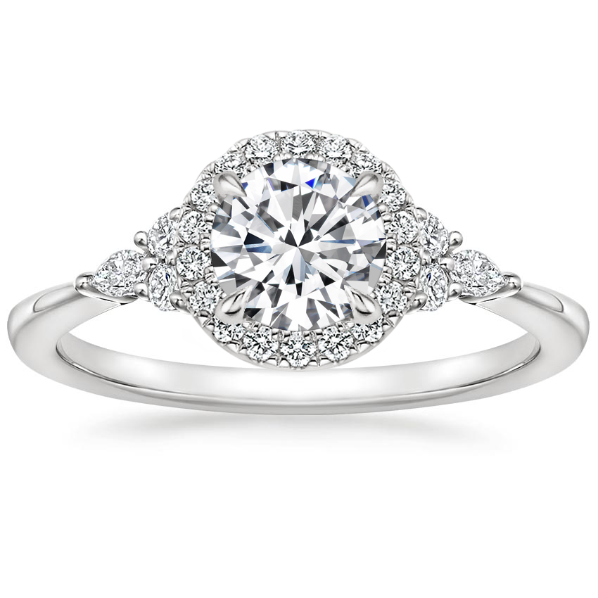 Round Diamond Halo Accent Engagement Rings