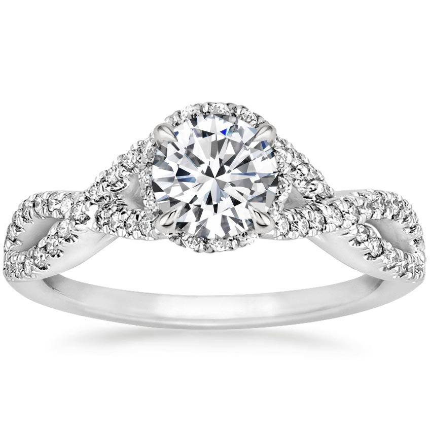 Round 18K White Gold Entwined Halo Diamond Ring (1/3 ct. tw.)