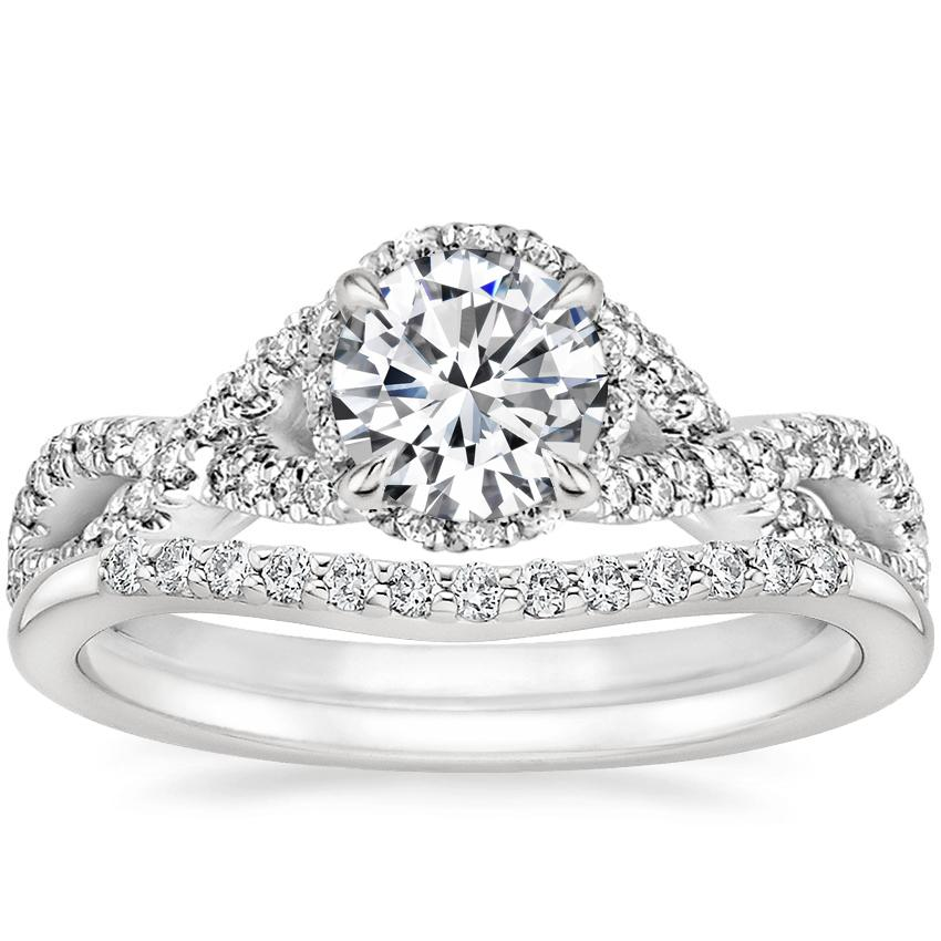 18K White Gold Entwined Halo Diamond Ring (1/3 ct. tw.) with Petite Curved Diamond Ring