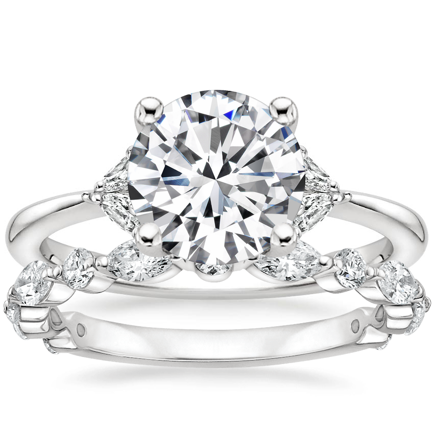18K White Gold Faye Diamond Ring with Luxe Versailles Diamond Ring (1/2 ct. tw.)