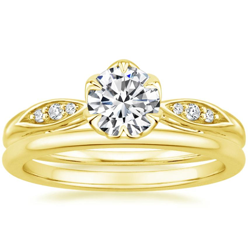 18K Yellow Gold Peony Diamond Ring with Petite Comfort Fit Wedding Ring