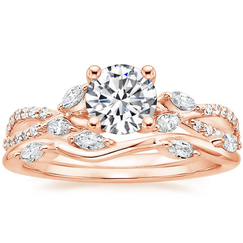 14K Rose Gold Luxe Willow Diamond Ring (1/3 ct. tw.) with Winding Willow Diamond Ring (1/8 ct. tw.)