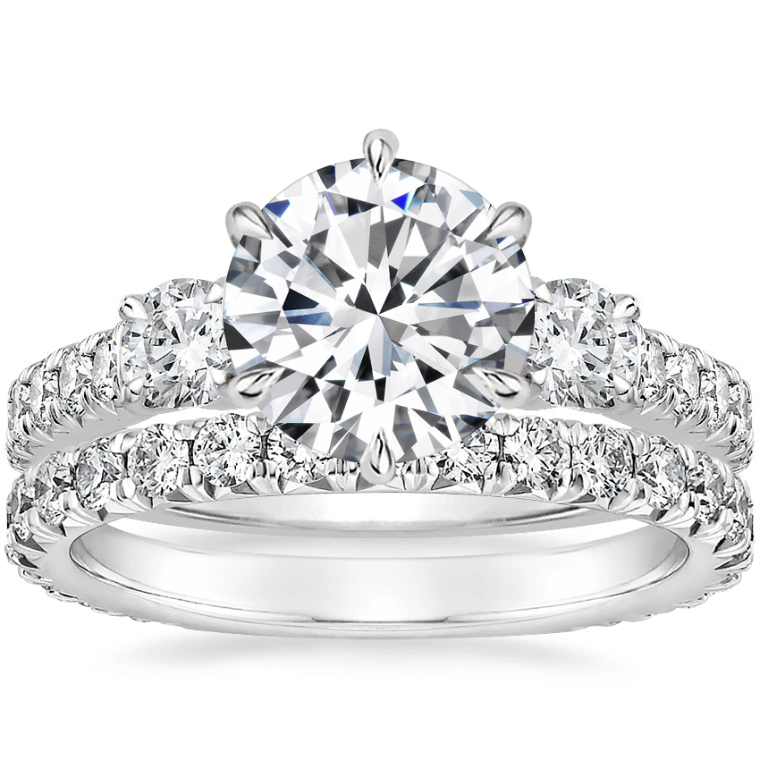 Platinum Gramercy Diamond Ring (3/4 ct. tw.) with Luxe Sienna Diamond Ring (5/8 ct. tw.)