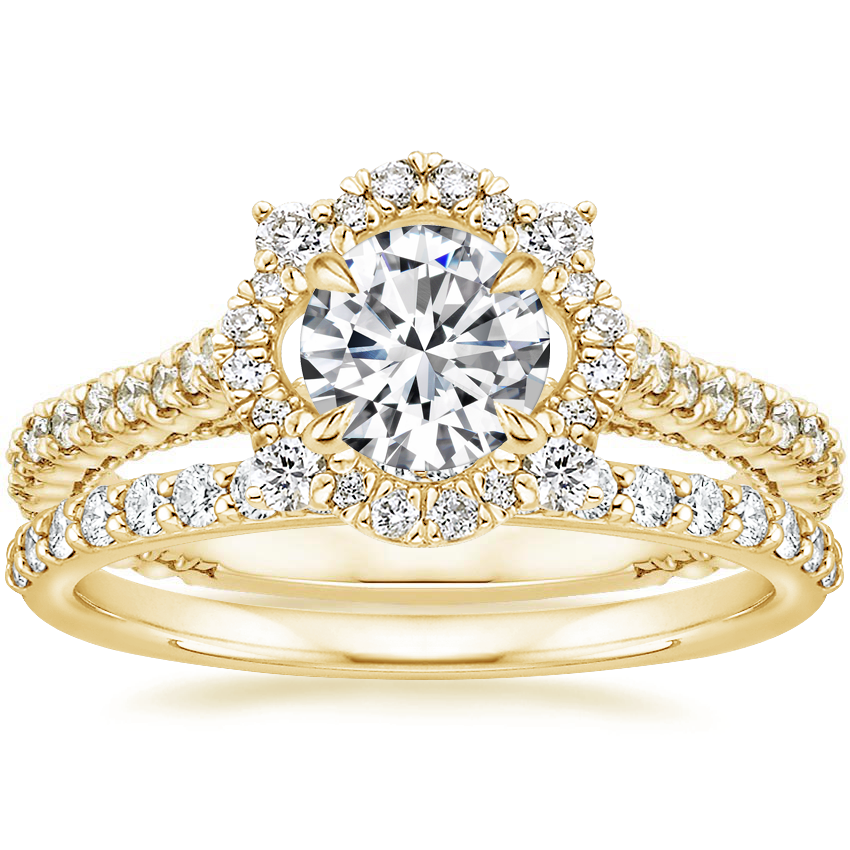 18K Yellow Gold Fleur Halo Diamond Ring with Petite Shared Prong Diamond Ring (1/4 ct. tw.)