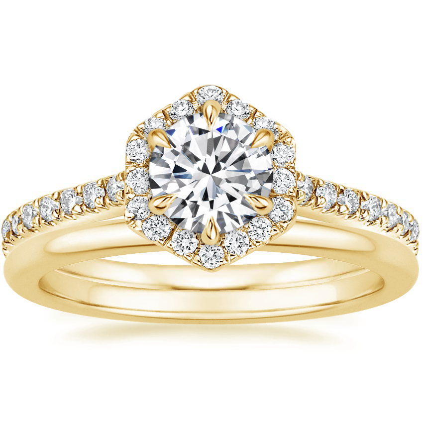 18K Yellow Gold Sonnet Diamond Ring (1/3 ct. tw.) with Petite Comfort Fit Wedding Ring
