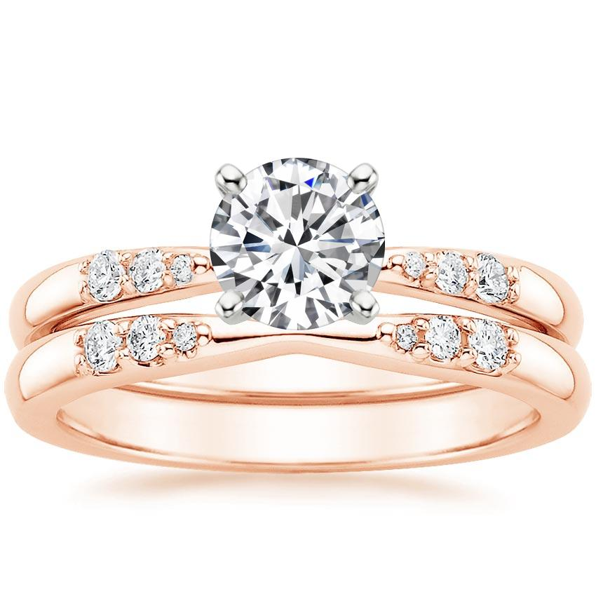 14K Rose Gold Lark Diamond Bridal Set