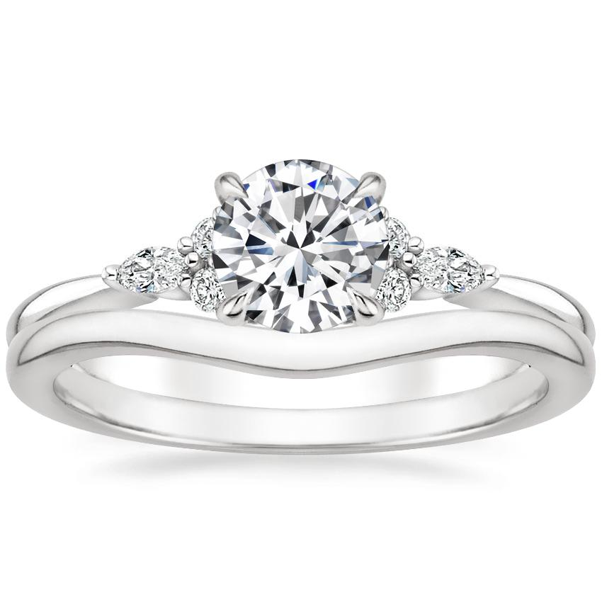 Platinum Nadia Diamond Ring with Petite Curved Wedding Ring