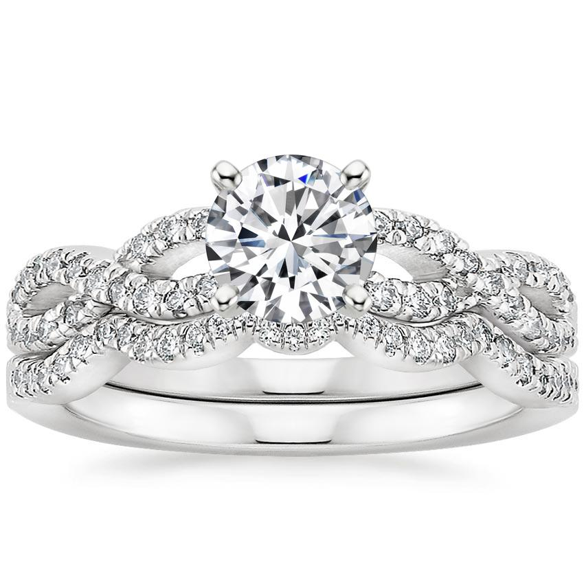 Platinum Infinity Diamond Ring Bridal Set (1/3 ct. tw.), top view