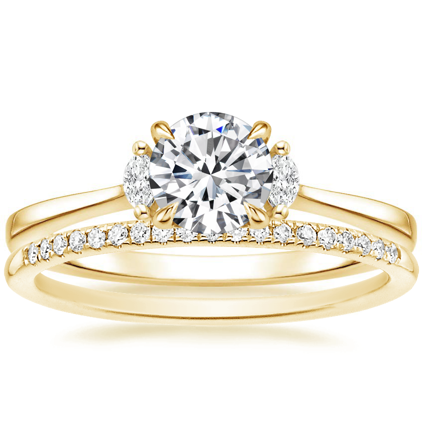 18K Yellow Gold Jolie Diamond Ring with Whisper Diamond Ring (1/10 ct. tw.)