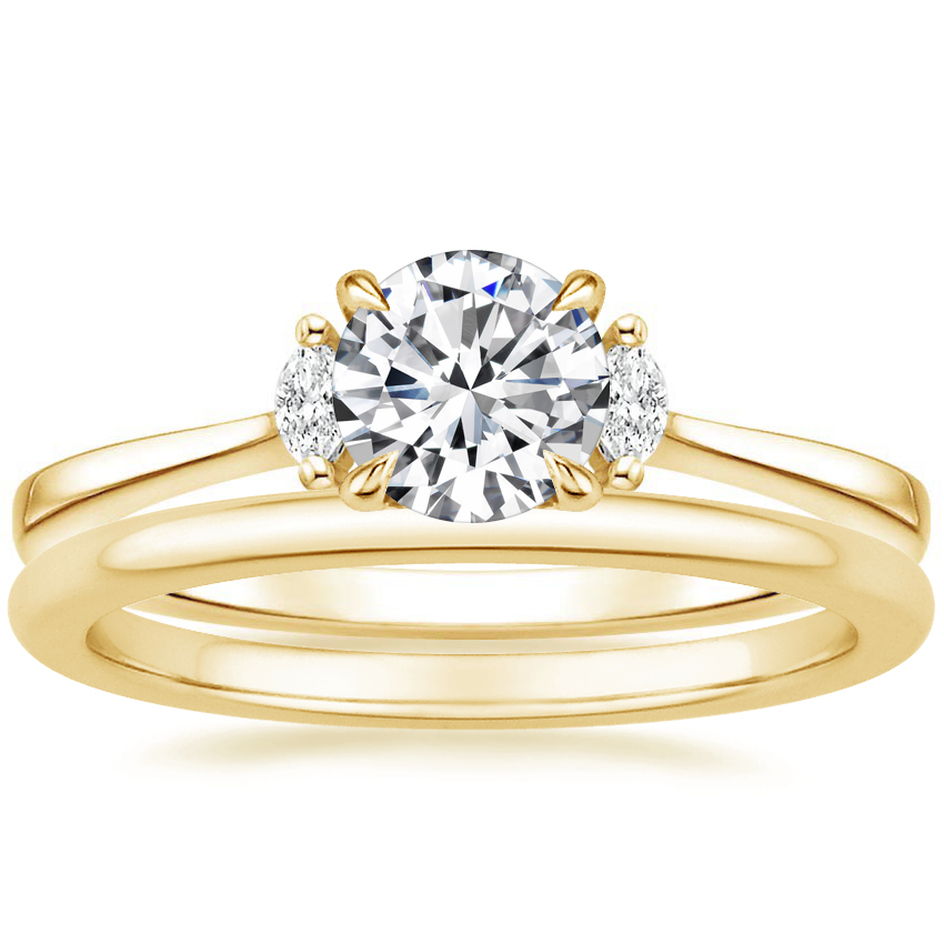 18K Yellow Gold Jolie Diamond Ring with Petite Comfort Fit Wedding Ring