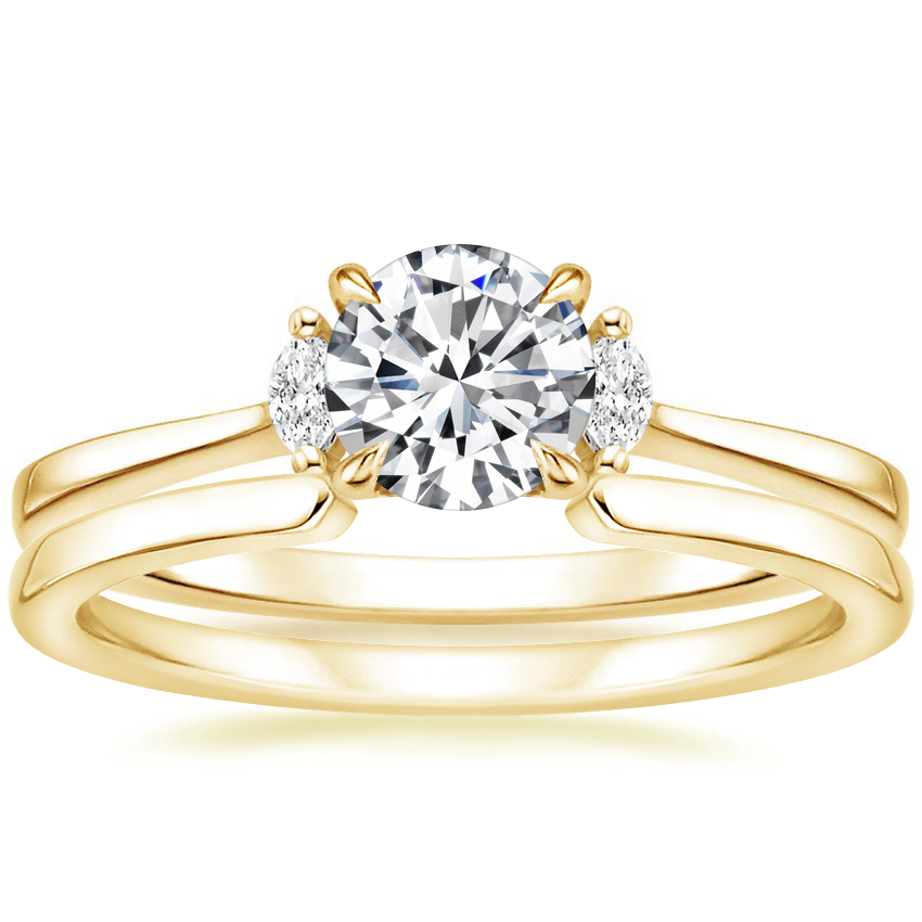 18K Yellow Gold Jolie Diamond Ring with Liv Ring