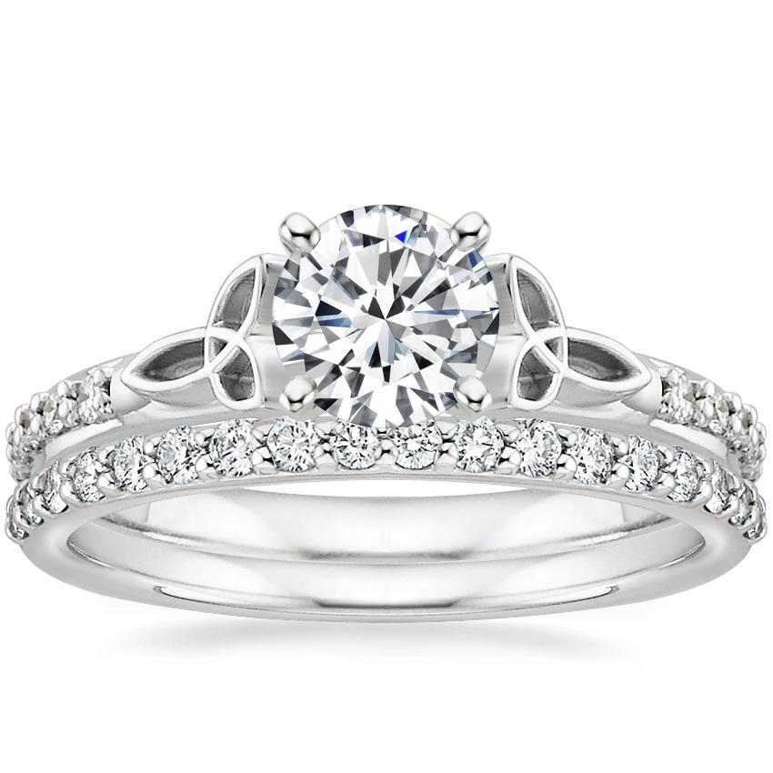 Platinum Luxe Celtic Love Knot Diamond Ring with Petite Shared Prong Diamond Ring (1/4 ct. tw.)