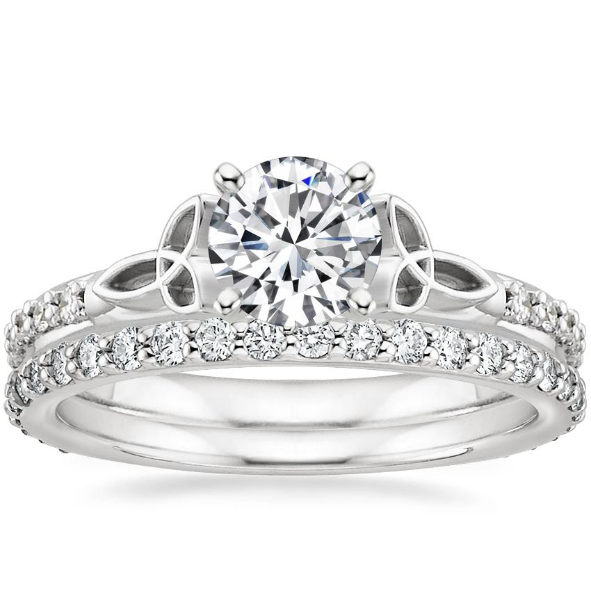 18K White Gold Luxe Celtic Love Knot Ring with Petite Shared Prong Eternity Diamond Ring (1/2 ct. tw.)