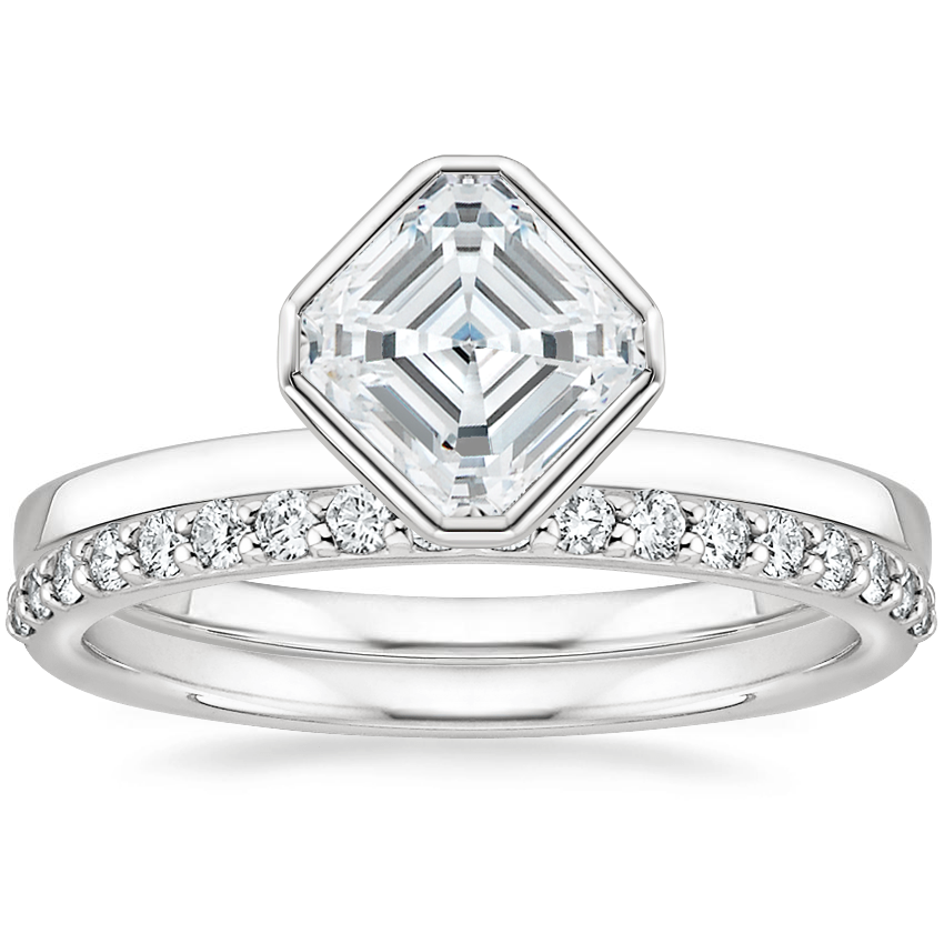 18K White Gold Cielo Ring with Petite Shared Prong Diamond Ring (1/4 ct. tw.)