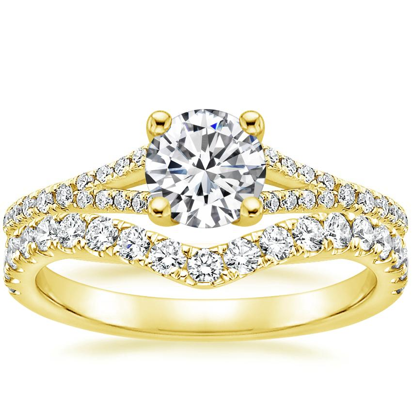 18K Yellow Gold Flair Diamond Ring with Luxe Flair Diamond Ring (1/3 ct. tw.)