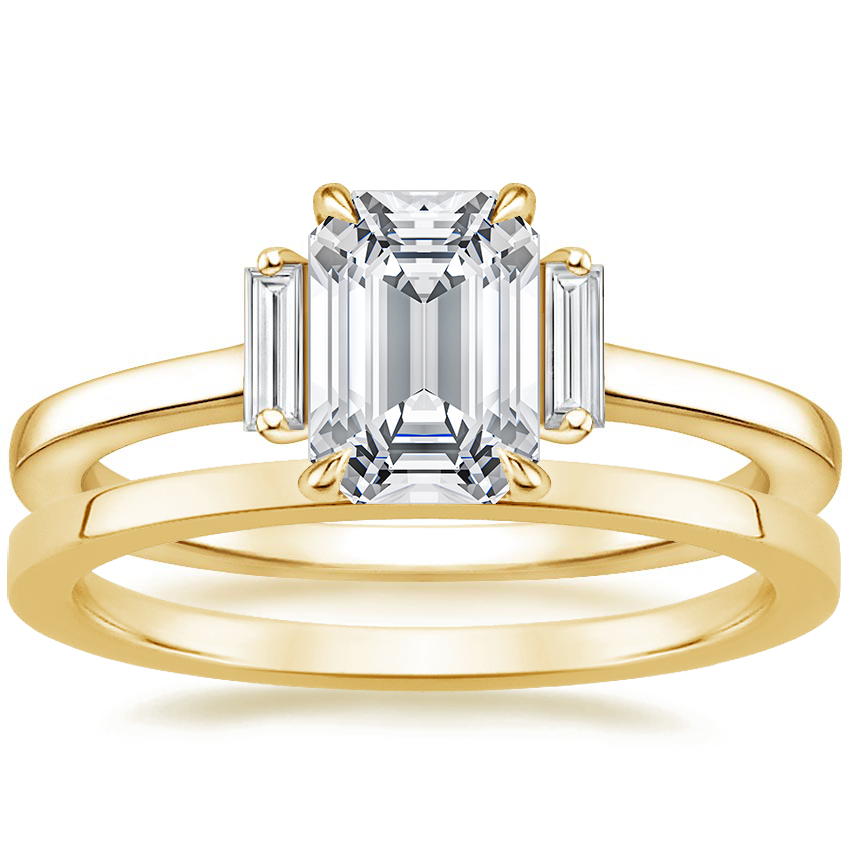 18K Yellow Gold Piper Diamond Ring with Petite Quattro Wedding Ring