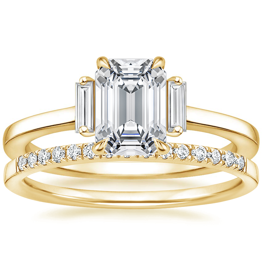 18K Yellow Gold Piper Diamond Ring with Petite Ballad Diamond Ring (1/10 ct. tw.)