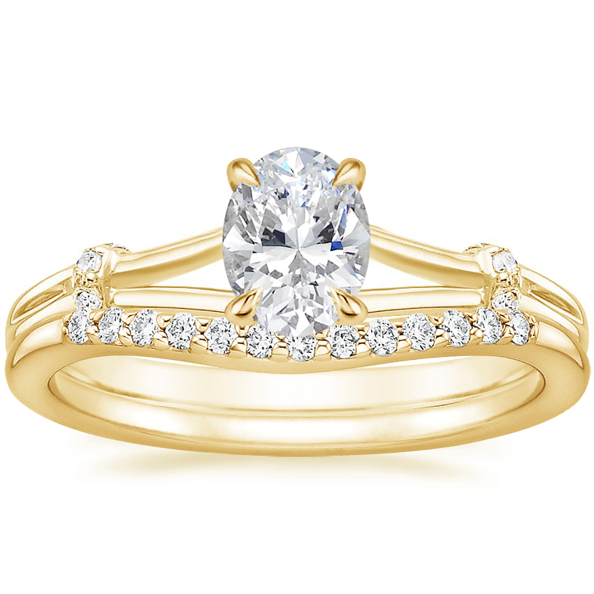 18K Yellow Gold Odelia Diamond Ring with Petite Curved Diamond Ring