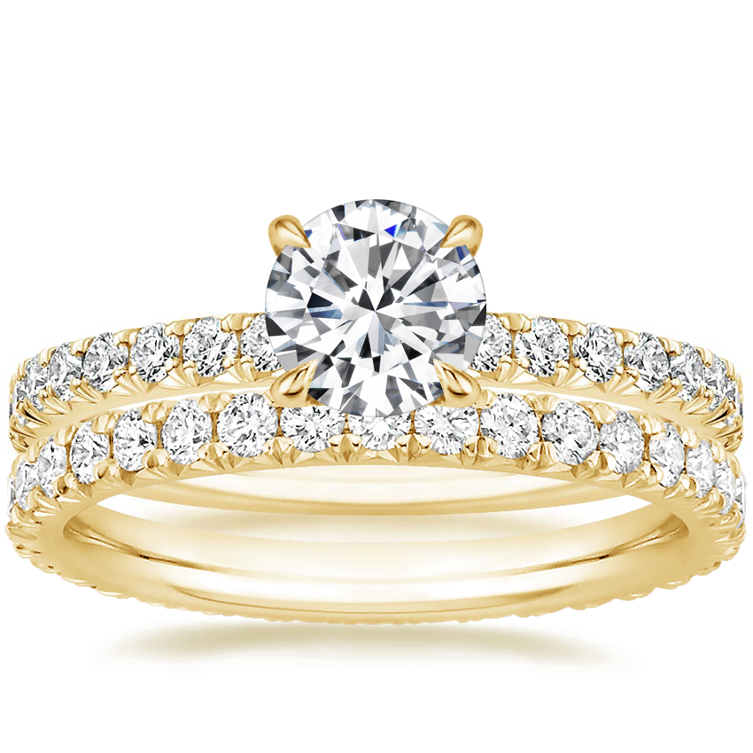 18K Yellow Gold Amelie Diamond Ring (1/3 ct. tw.) with Amelie Eternity Diamond Ring (2/3 ct. tw.)