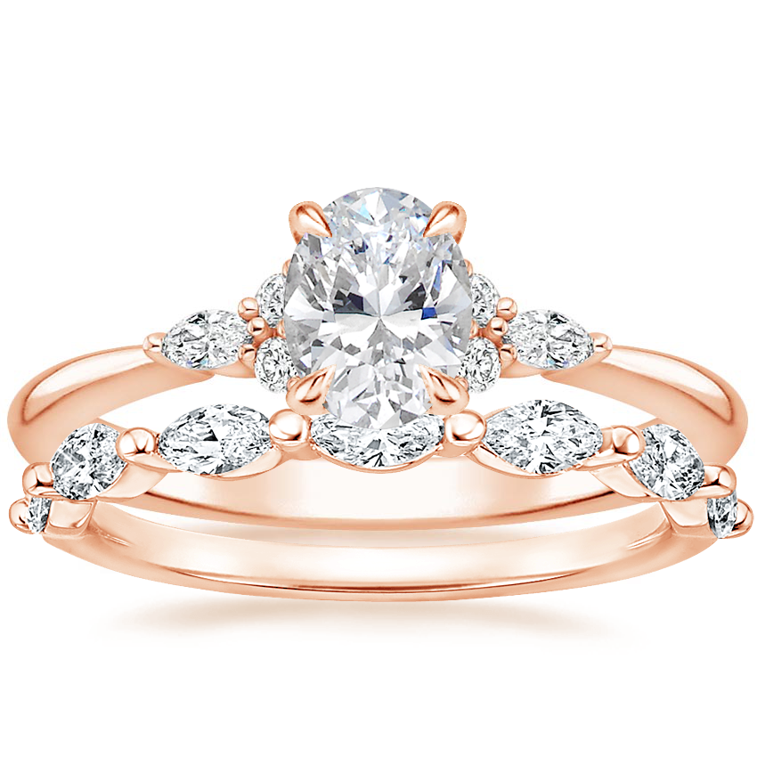 14K Rose Gold Nadia Diamond Ring with Joelle Diamond Ring