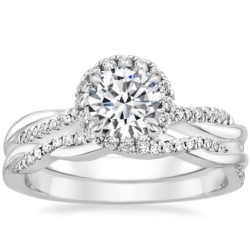 Platinum Monroe Diamond Ring with Petite Twisted Vine Diamond Ring (1/8 ct. tw.)