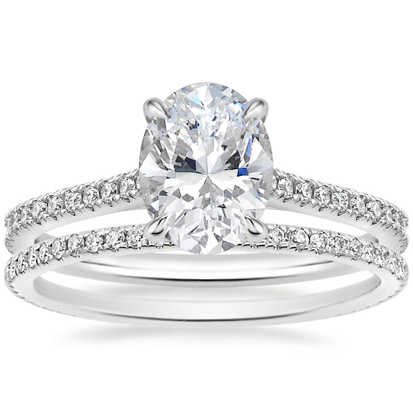 18K White Gold Luxe Lissome Diamond Ring (1/5 ct. tw.) with Whisper Eternity Diamond Ring (1/4 ct. tw.)