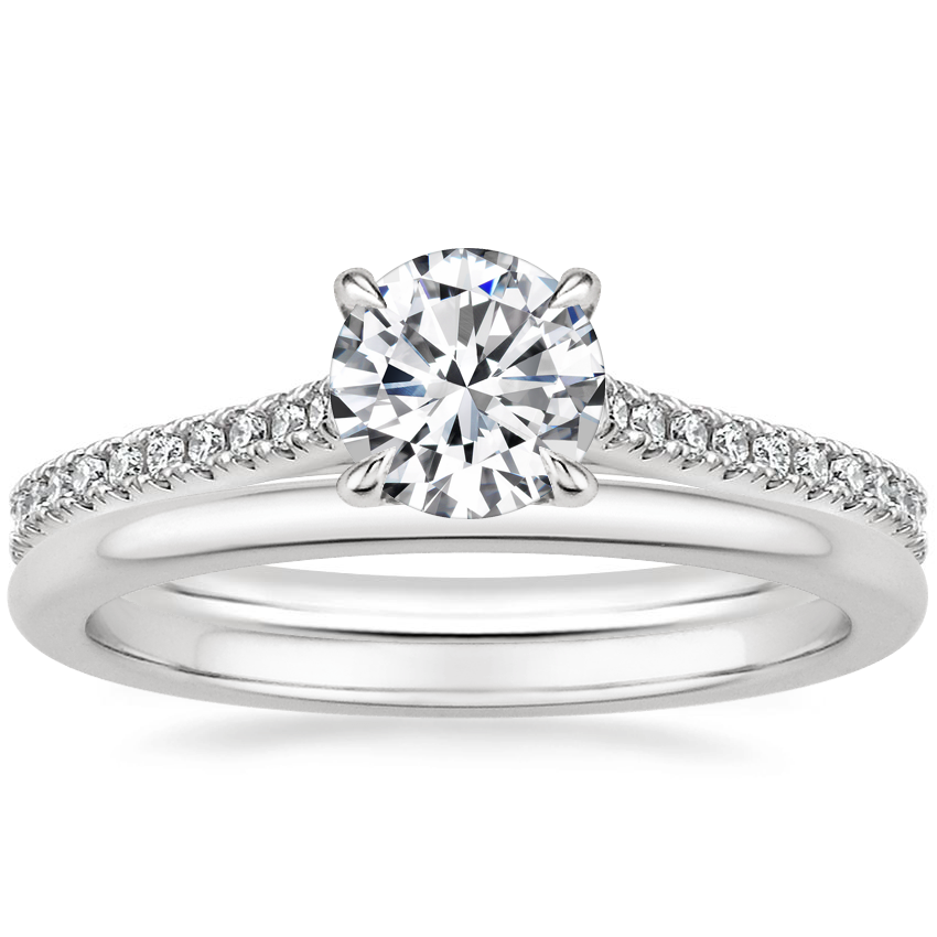 18K White Gold Luxe Lissome Diamond Ring (1/5 ct. tw.) with Petite Comfort Fit Wedding Ring