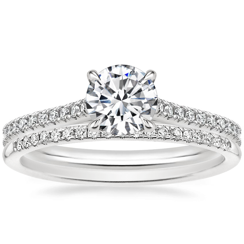 18K White Gold Luxe Lissome Diamond Ring (1/5 ct. tw.) with Whisper Diamond Ring (1/10 ct. tw.)