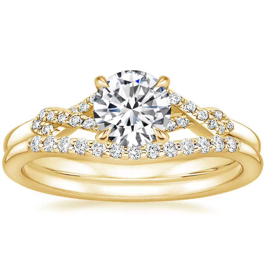 18K Yellow Gold Delta Diamond Ring with Petite Curved Diamond Ring