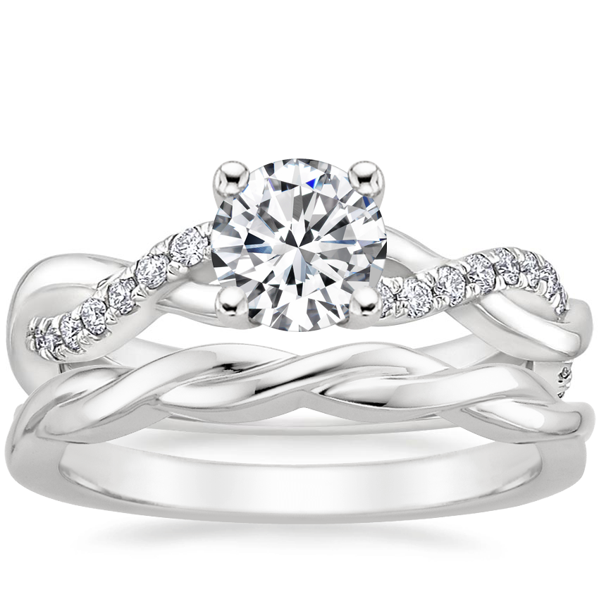Platinum Braided Vine Diamond Ring (1/4 ct. tw.) with Twisted Vine Ring