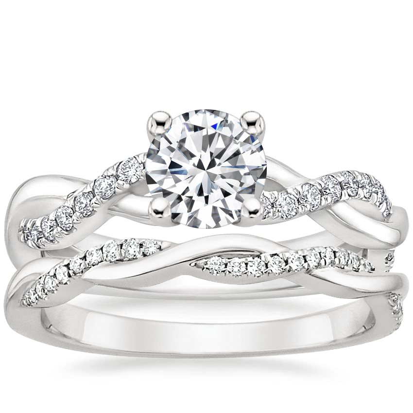 18K White Gold Braided Vine Diamond Ring (1/4 ct. tw.) with Petite Twisted Vine Diamond Ring (1/8 ct. tw.)