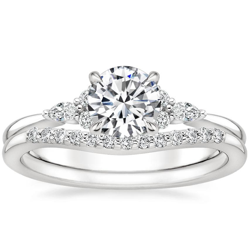 18K White Gold Nadia Diamond Ring with Petite Curved Diamond Ring
