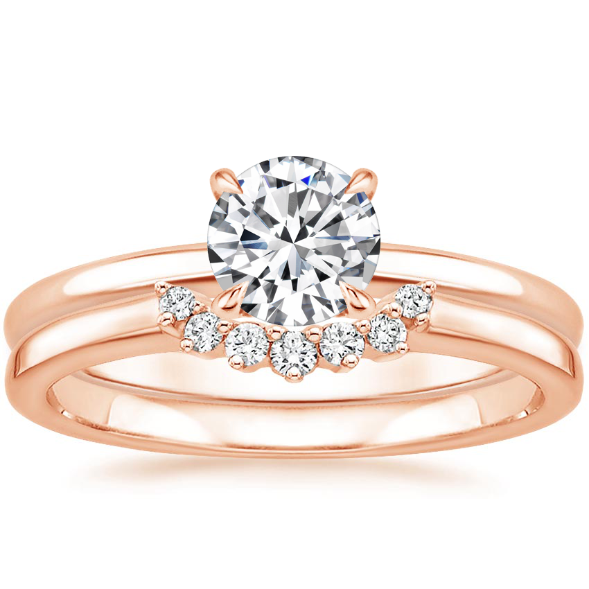 14K Rose Gold Elodie Ring with Crescent Diamond Ring