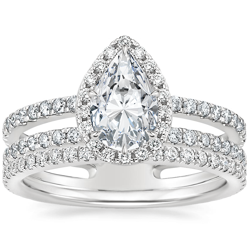 18K White Gold Linnia Halo Diamond Ring (2/3 ct. tw.) with Luxe Ballad Diamond Ring (1/4 ct. tw.)