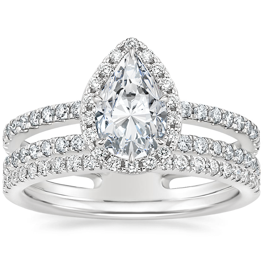 Platinum Linnia Halo Diamond Ring (2/3 ct. tw.) with Ballad Diamond Ring (1/6 ct. tw.)