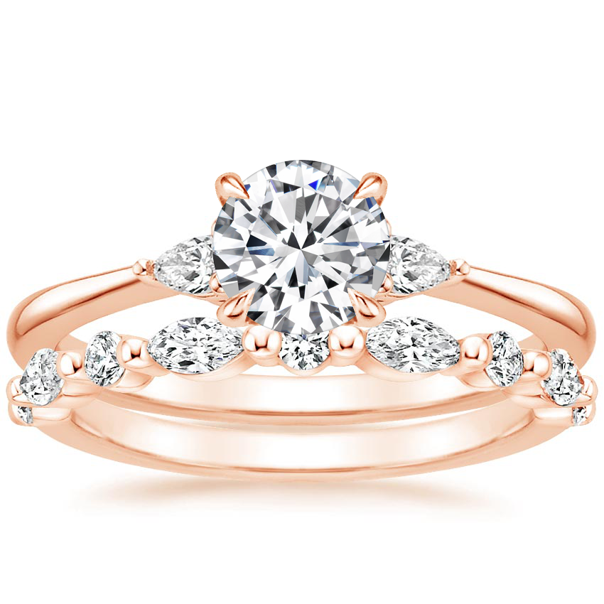 14K Rose Gold Aria Diamond Ring (1/10 ct. tw.) with Versailles Diamond Ring (3/8 ct. tw.)
