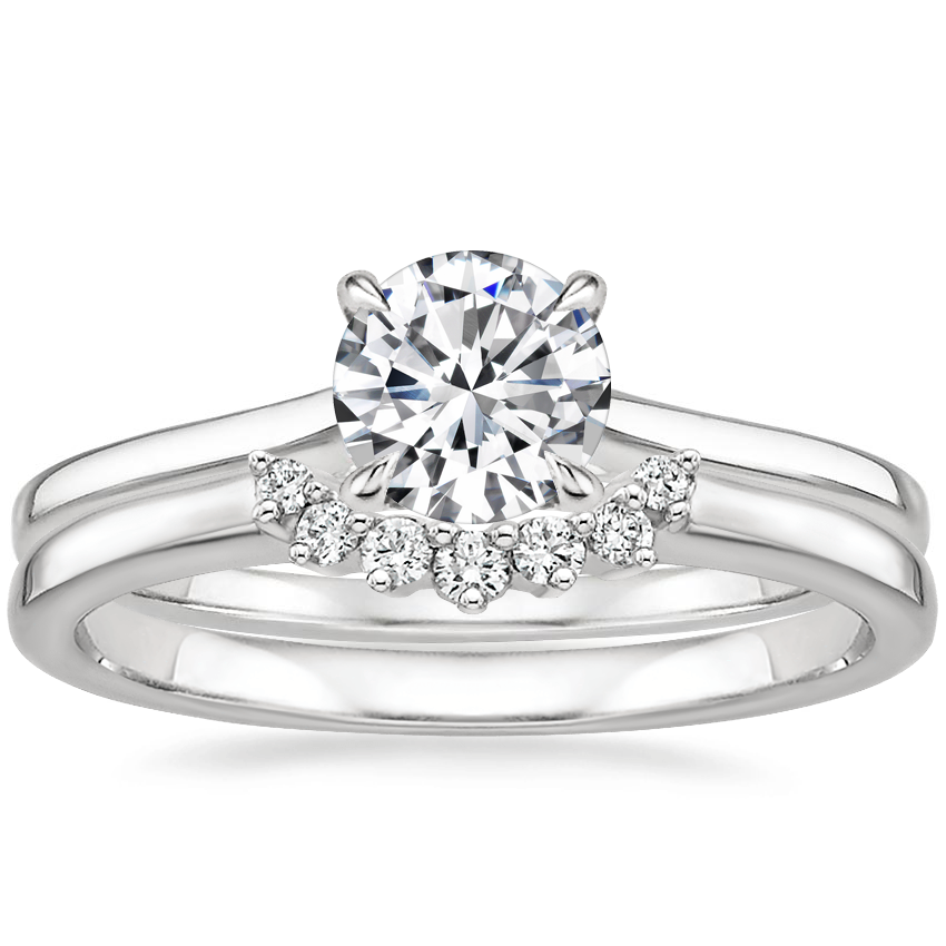Platinum Provence Ring with Crescent Diamond Ring