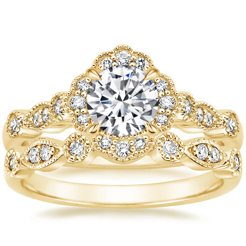 18K Yellow Gold Tiara Halo Diamond Ring with Tiara Diamond Ring (1/10 ct. tw.)